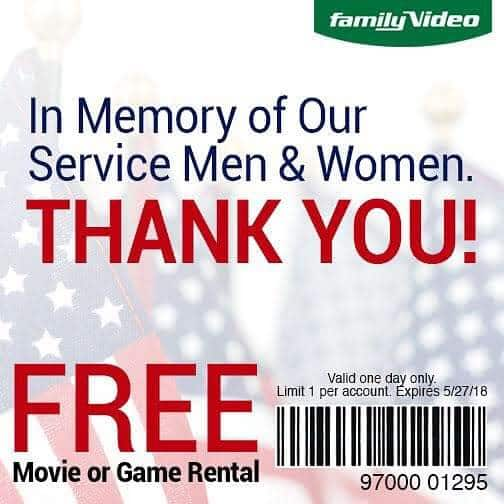 Free Game or Movie Rental at Family Video 5/27