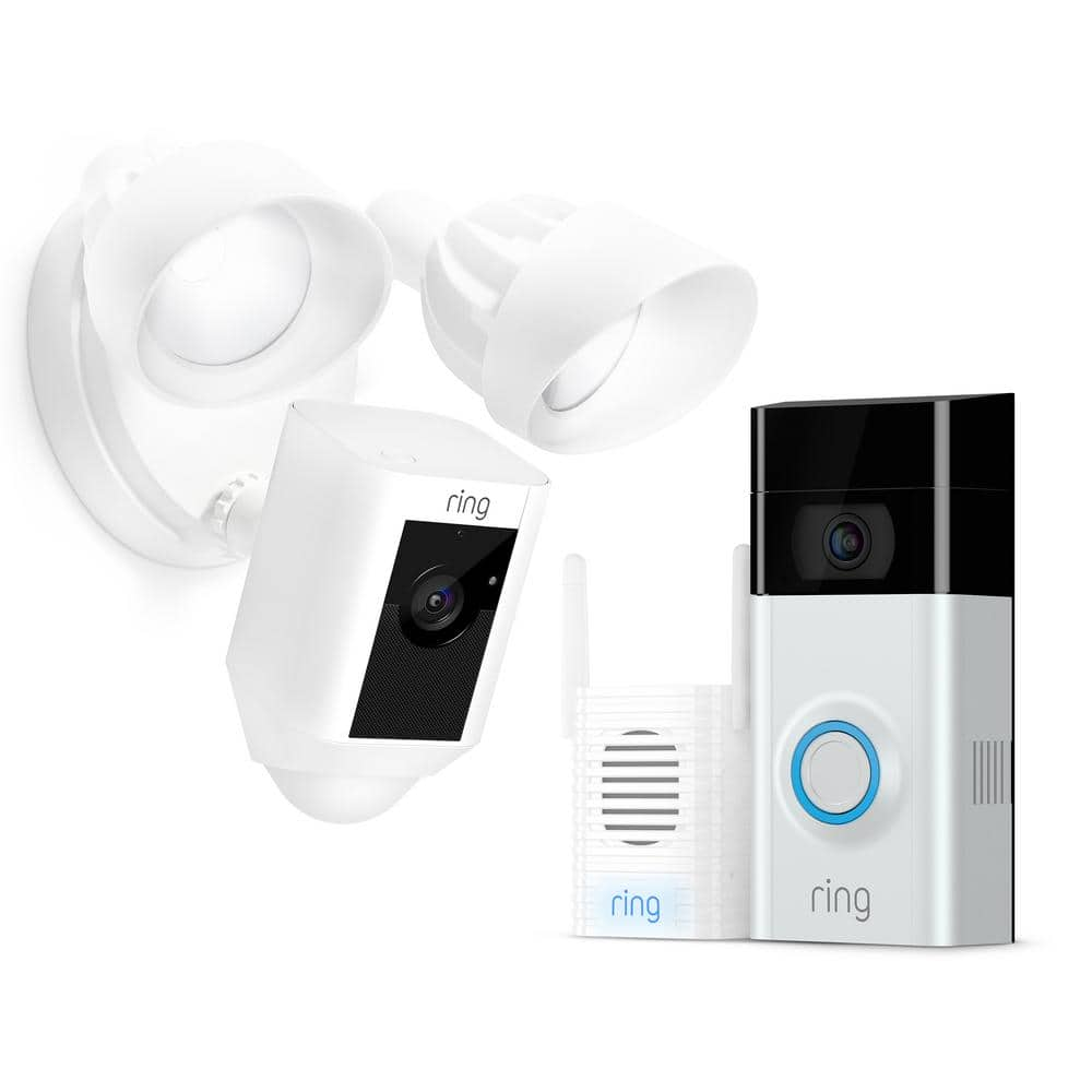 Ring Wireless Video Doorbell 2 with Chime Pro and Floodlight Cam White ----- $425