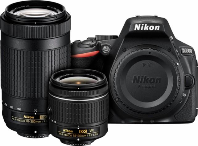 Nikon - D5500 DSLR Camera with AF-P DX 18-55mm and AF-P DX 70-300mm Lenses - Black $599.99 @ Best Buy w/ FS