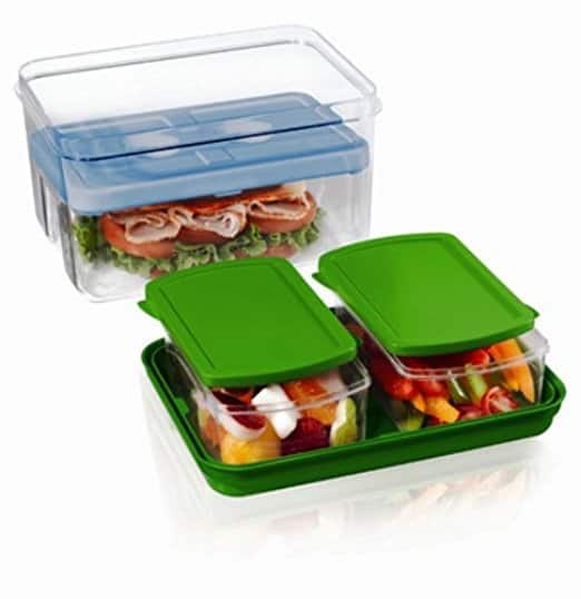 Fit & Fresh Lunch on the Go Set with Ice Pack, 3 Reusable Portion Control Containers, BPA-Free, Microwave/Dishwasher Safe Lunch Box [CT] $7.08