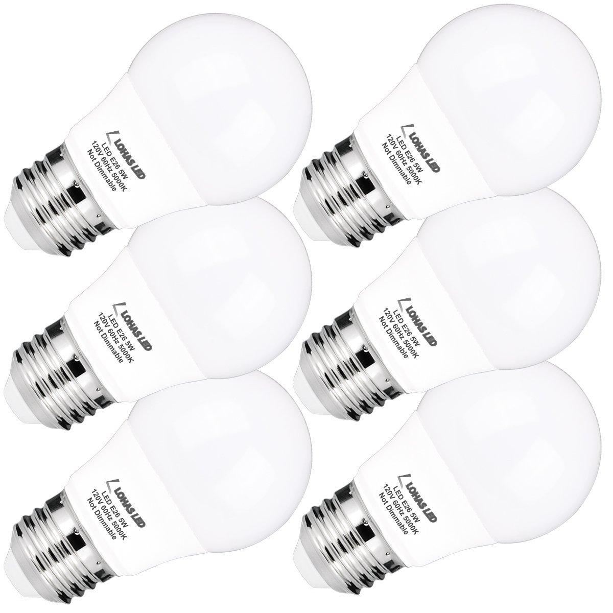 LOHAS LED Bulbs  A15 E26 5Watt Daylight 6-Pack + Free shipping @ Amazon $14.69