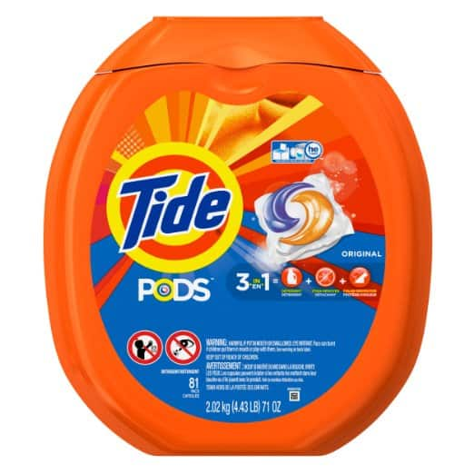 New $3 Off Amazon Coupon for Tide Pods Laundry Detergent Pacs Tub 81 Count  - $13 AC w/ S&S ( 5 or More Items )