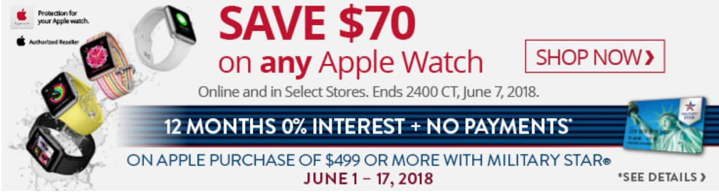 Apple Watch $70 off (Military Only) $258