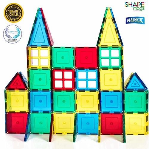 60 Piece Magnetic Stick N Stack Magnetic Tiles + 1 free Wheel Base Set $29.99