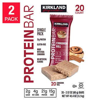 Kirkland Signature Protein Bars, Cinnamon Roll, 20-count, 2-pack $24.99