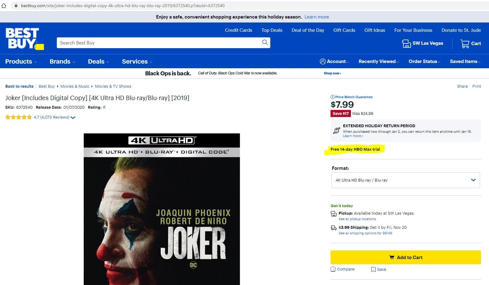BB Joker 4K includes 14 day HBO Max trial $8 (Blu-ray $6)