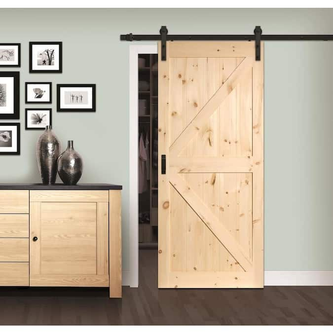 ReliaBilt Sierra 36-in x 84-in Pine K-frame Unfinished Pine Wood Single Barn Door (Hardware Included) - Lowes Inventory Checker - BrickSeek $14.90