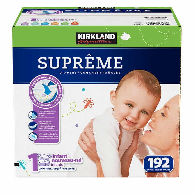 costco members kirkland signature diapers 192 ct size 1 or 174 ct size 2. Black Bedroom Furniture Sets. Home Design Ideas