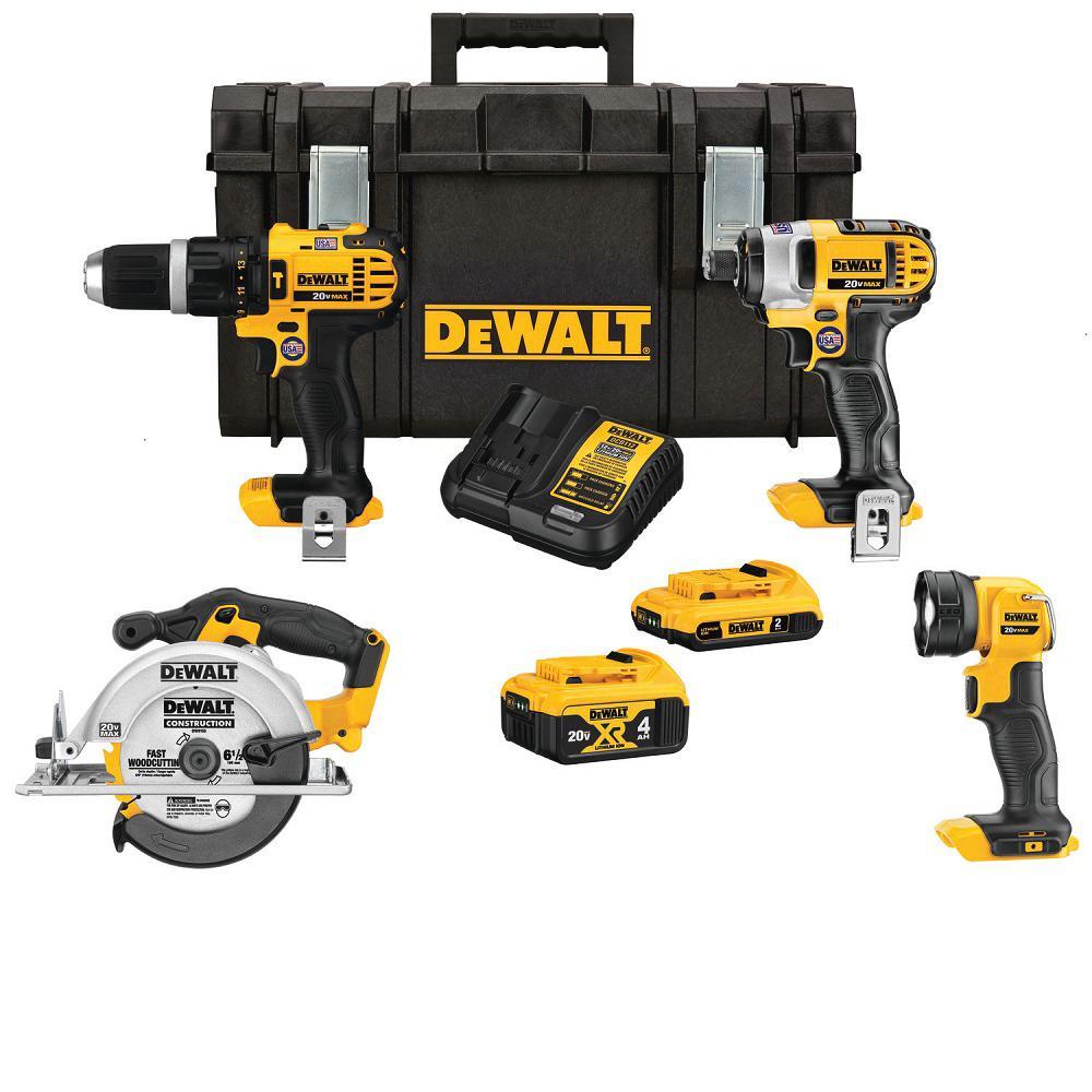 YMMV: DeWalt 4pc tool kit with tough case & 2ah + 4ah Battery $150