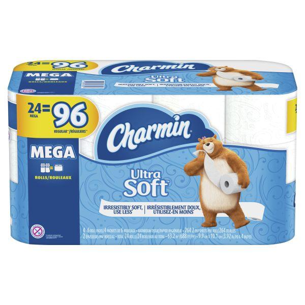 Charmin Ultra Soft Toilet Paper, $23.82 - 24 Mega Rolls, 264 Sheets per Roll