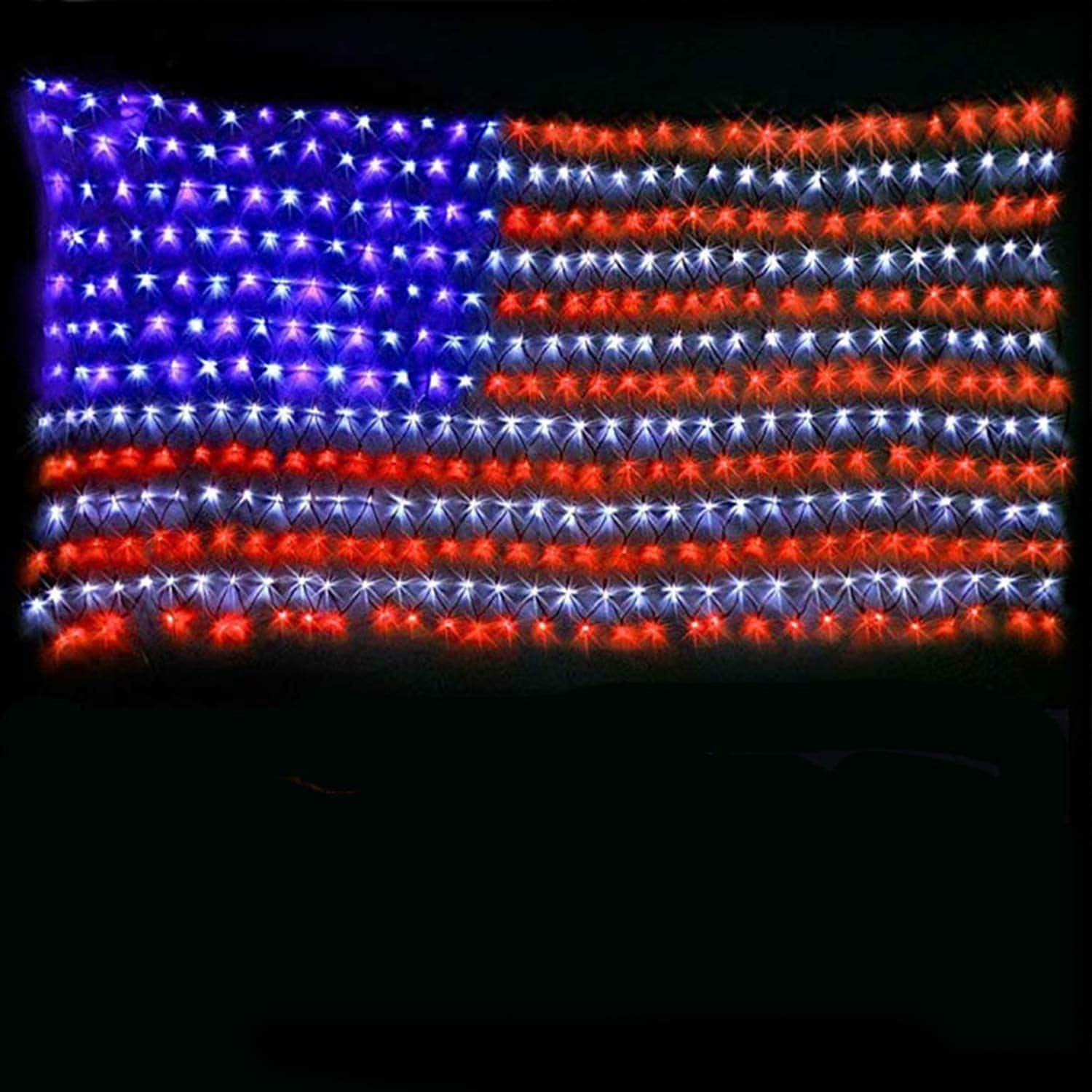 American Flag Lights with 420 Super Bright Waterproof LEDs $17.54