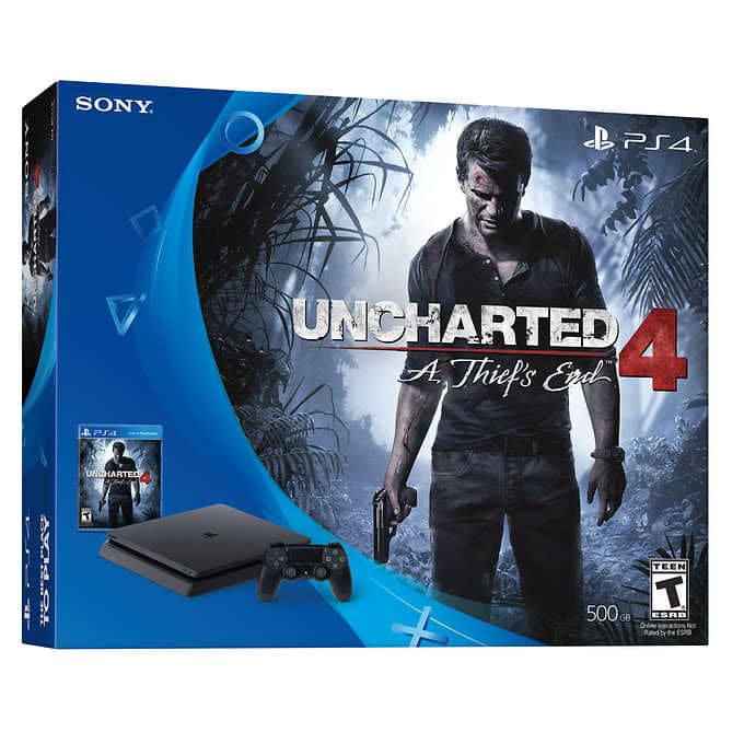 PS4 Playstation 4 slim console w/ Uncharted 4 + 2 controllers +additional year warranty @ Costco $249.99