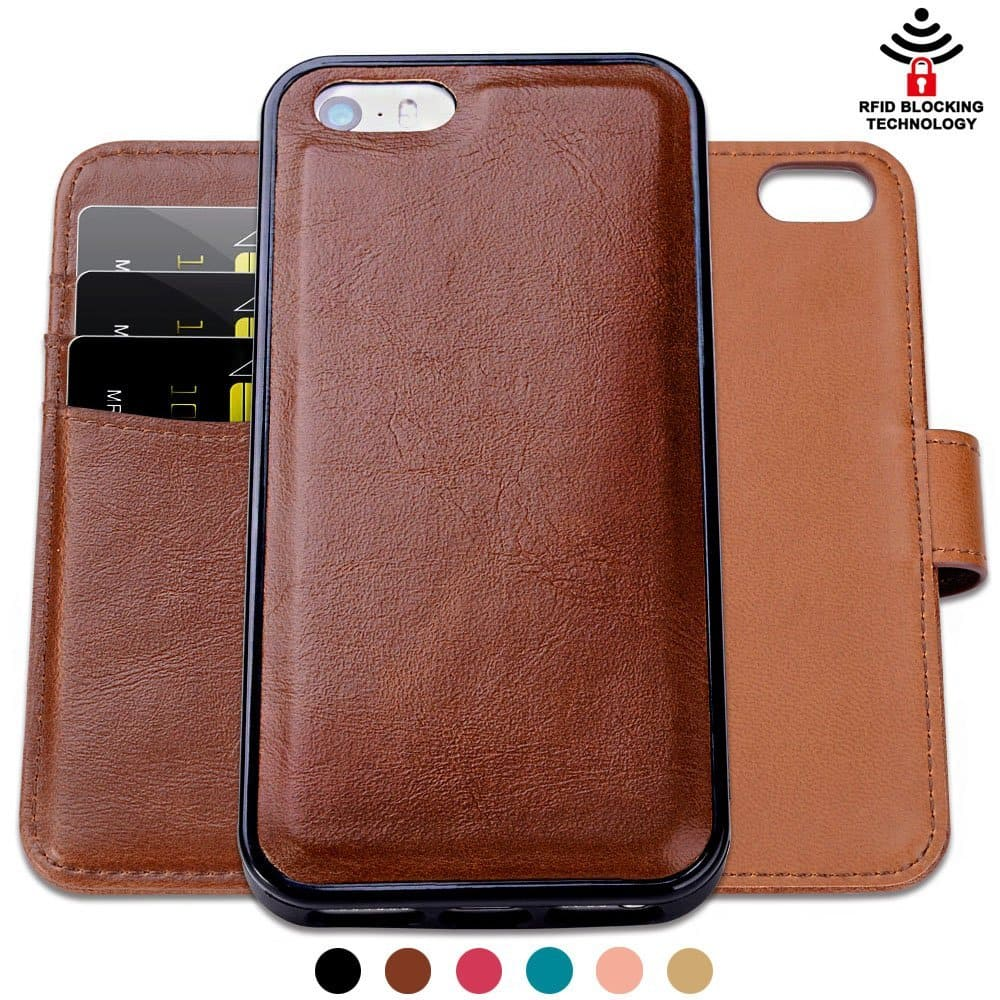 SHANSHUI Detachable 2 in 1 Leather Wallet Case with 3 RFID Card Holders and 1 Cash Pocket with Slim Back Cover for iPhone SE, 5 and 5S - Brown $9.59