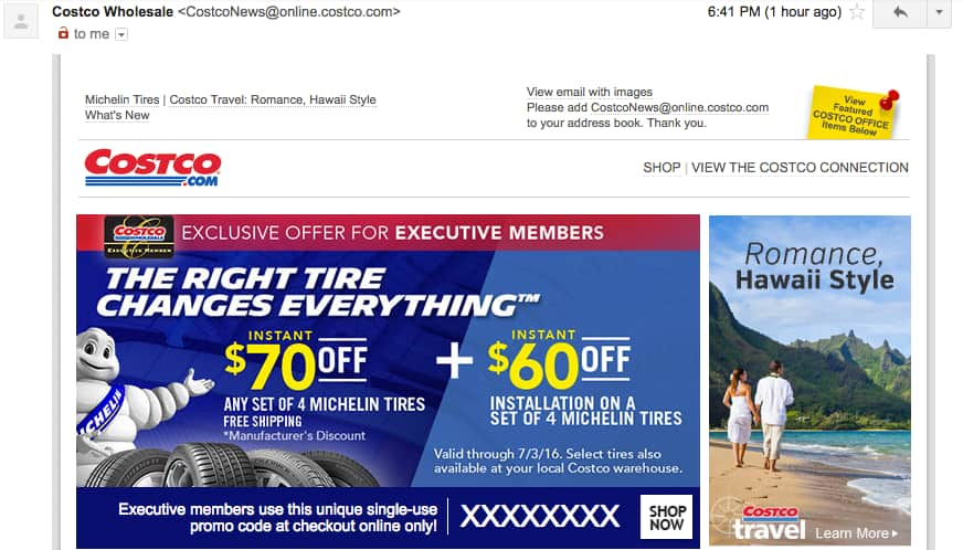 costco executive members email offer 130 off installed michelin