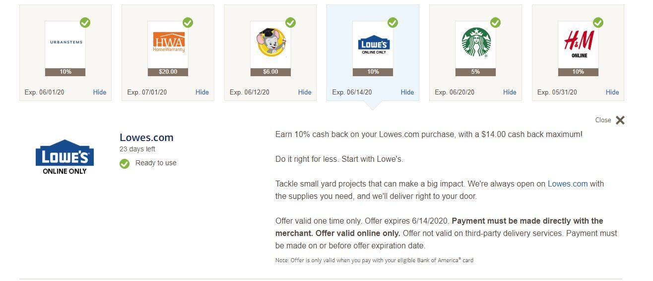 BankAmeriDeals:Earn 10% cash back on your Lowes.com purchase, with a $14.00 cash back maximum!