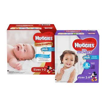 Huggies Plus Diapers Sizes 1 - 6 Buy 3, Save $30  Purchase 3 participating Huggies items on the same order and receive $30 OFF at checkout. Valid 1/6/20 through 1/12/20. $90