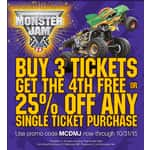 MONSTER JAM - Buy 3 tickets get 4th free or 25% off single tickets - until 10/31/15