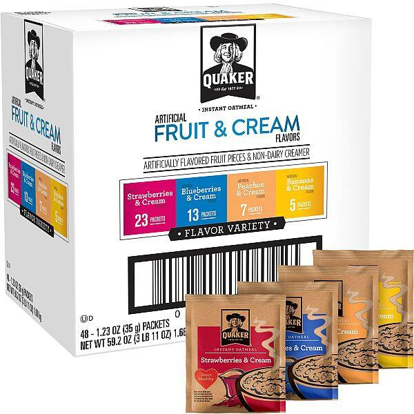 Quaker Instant Oatmeal Fruit and Cream Variety Pack 48cnt - as low as $5.60 w/ SS - Amazon