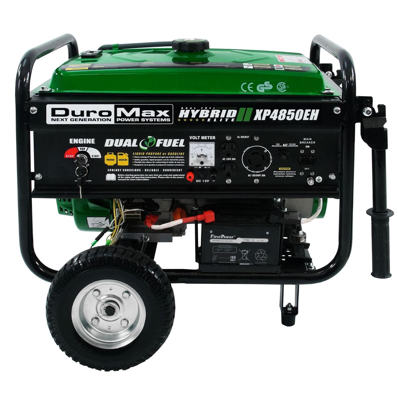 DuroMax XP4850EH Hybrid Portable Dual Fuel Propane / Gas Camping RV Generator - $324.99 + Free Shipping @ ebay.com