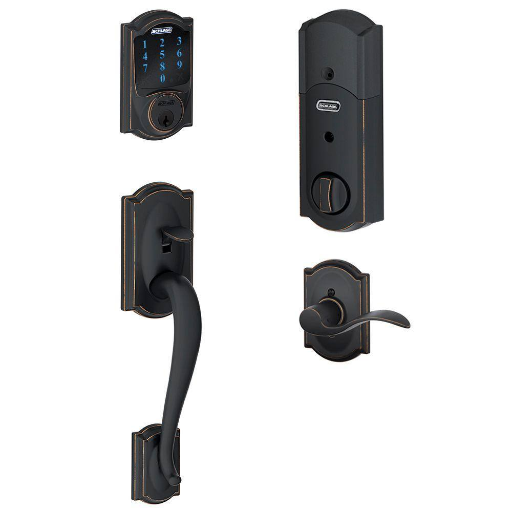 Schlage Camelot Aged Bronze Connect Smart Lock with Alarm and Right Handed Accent Lever - $199 + Free Shipping @ homedepot.com