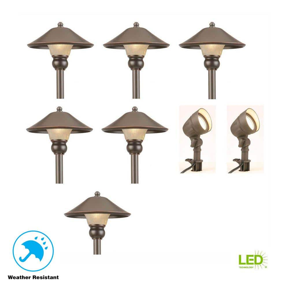 Hampton Bay Low Voltage Bronze Outdoor Integrated Led Landscape Path Light And Flood Kit 8 Pack 111 20 Free Shipping Homedepot