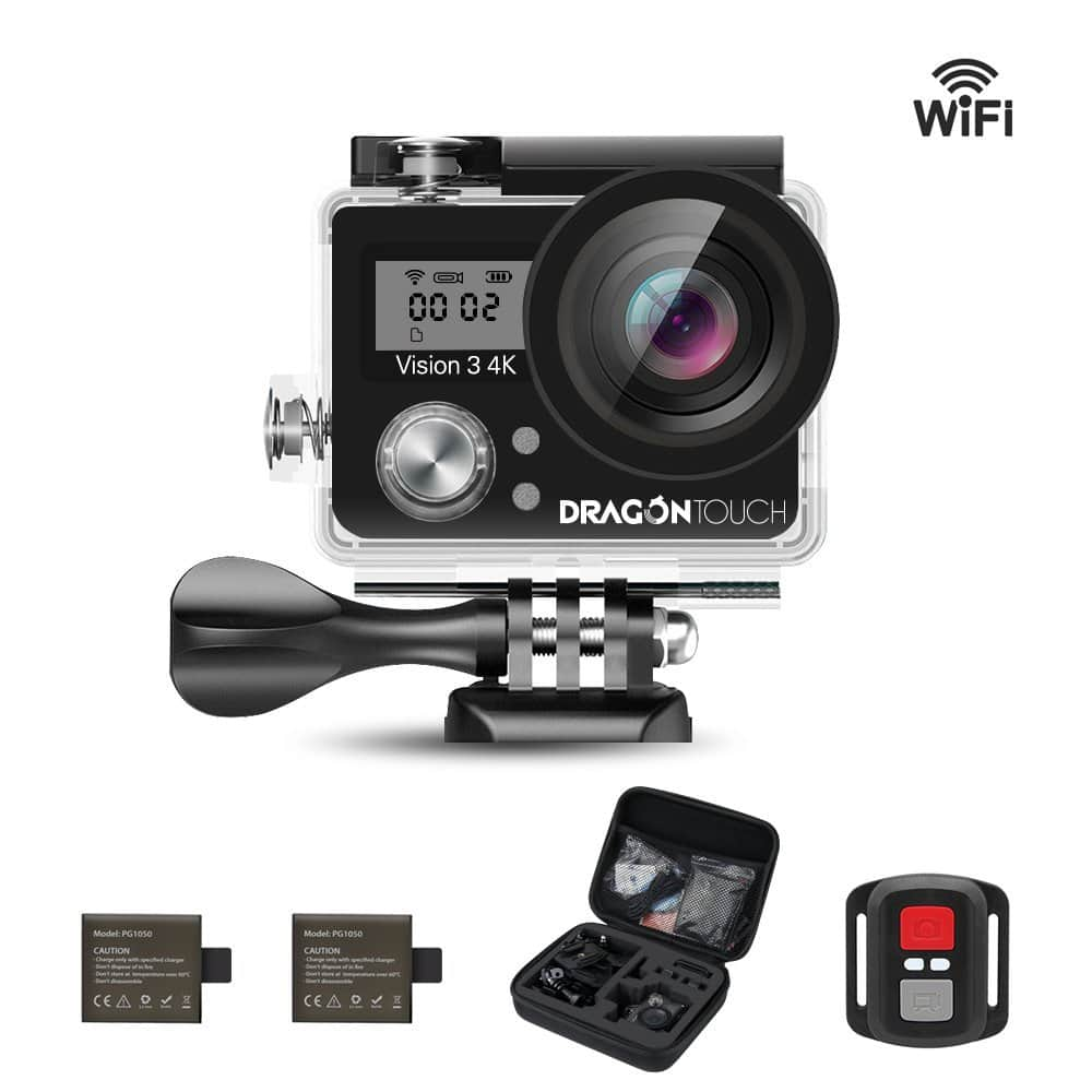 Dragon Touch Vision 3 4K Sports Action Camera Ultra HD Waterproof WiFi 16MP DV Camcorder 170 Degree Wide 2 inch LCD Screen $48.99 @Amazon +FS