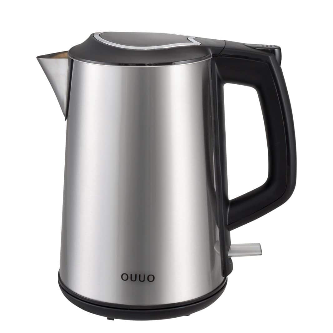 OUUO Cordless Stainless Steel Double Wall Electric Water Kettle 1.9 quart $16.99