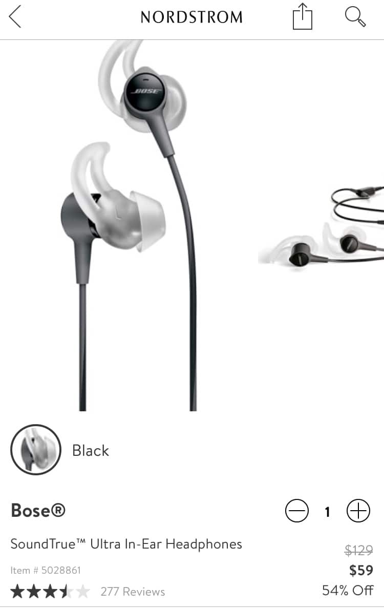 9f9063fcbb1 Bose SoundTrue Ultra In-Ear Headphones $59 @Nordstrom - Slickdeals.net