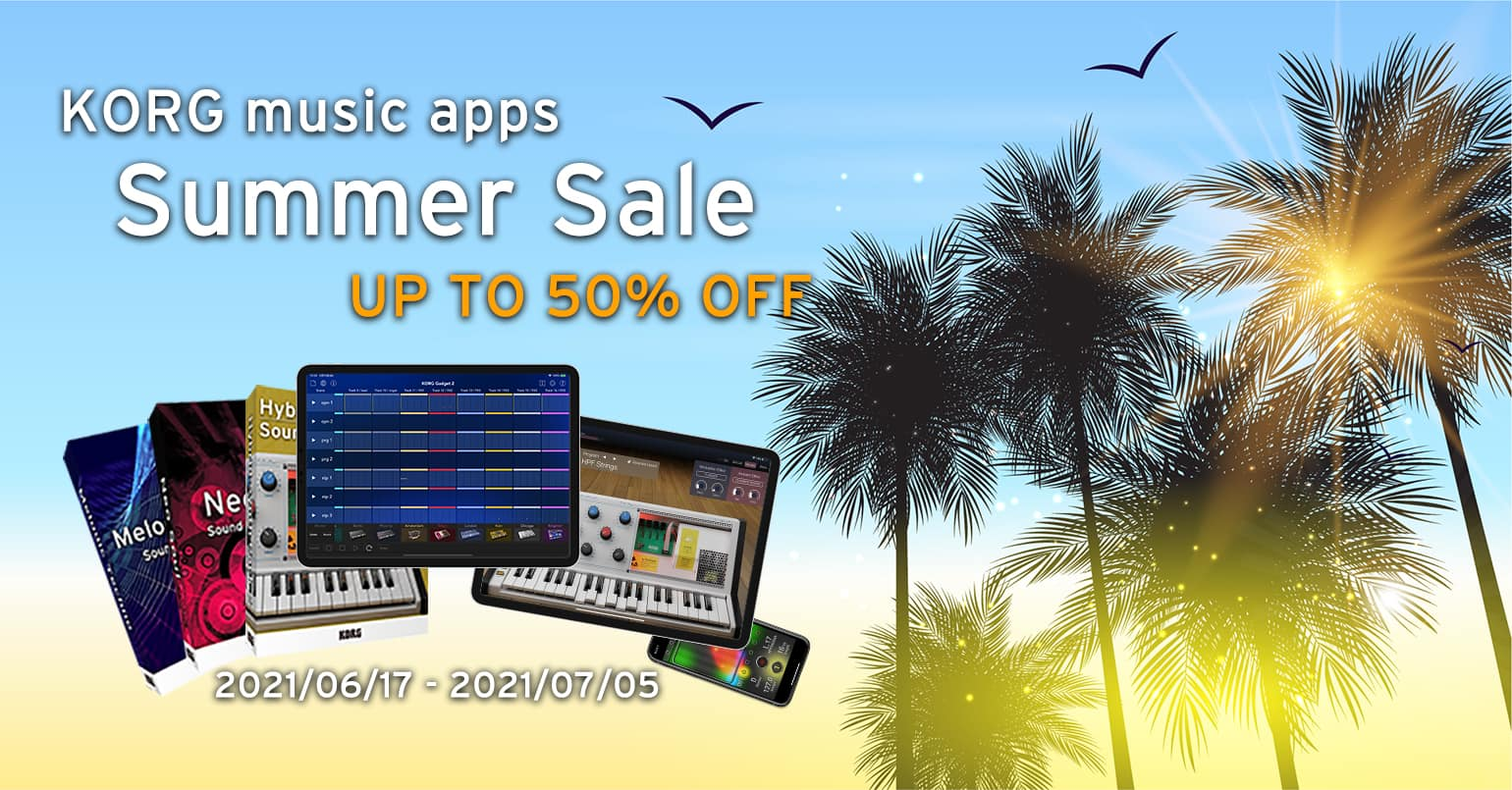KORG music apps iOS/iPad/Android 50% Off until July 5th!