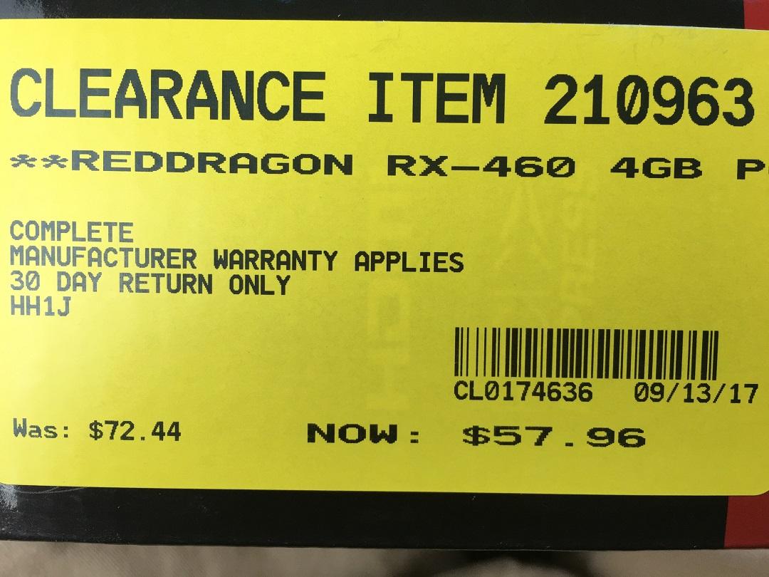 open box powercolor RX460 4gb, $58+tax.