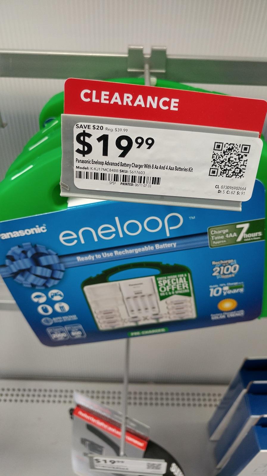 Panasonic eneloop kit 8aa+4aaa & charger -$20 B&M