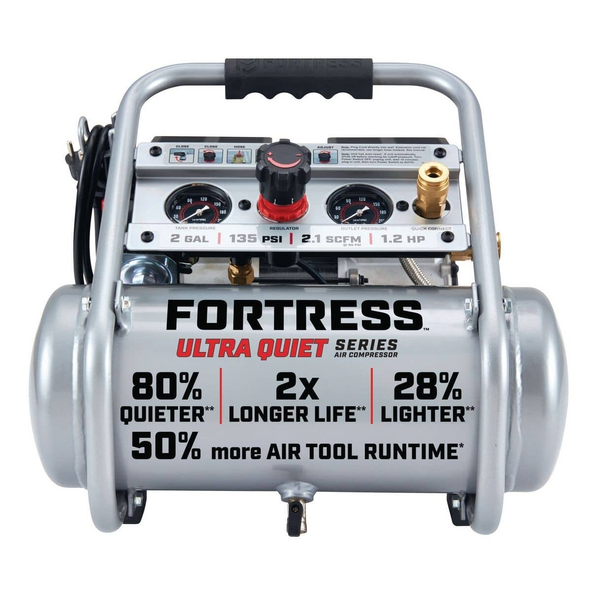 Fortress 2 Gallon 135 PSI Ultra Quiet Hand Carry Jobsite Air Compressor $129