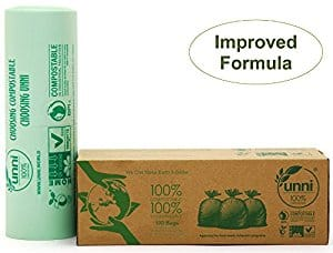 Compostable Bags, 2.6 Gallon, 100 count for $6.39 on Amazon (1/2 price of usual!)