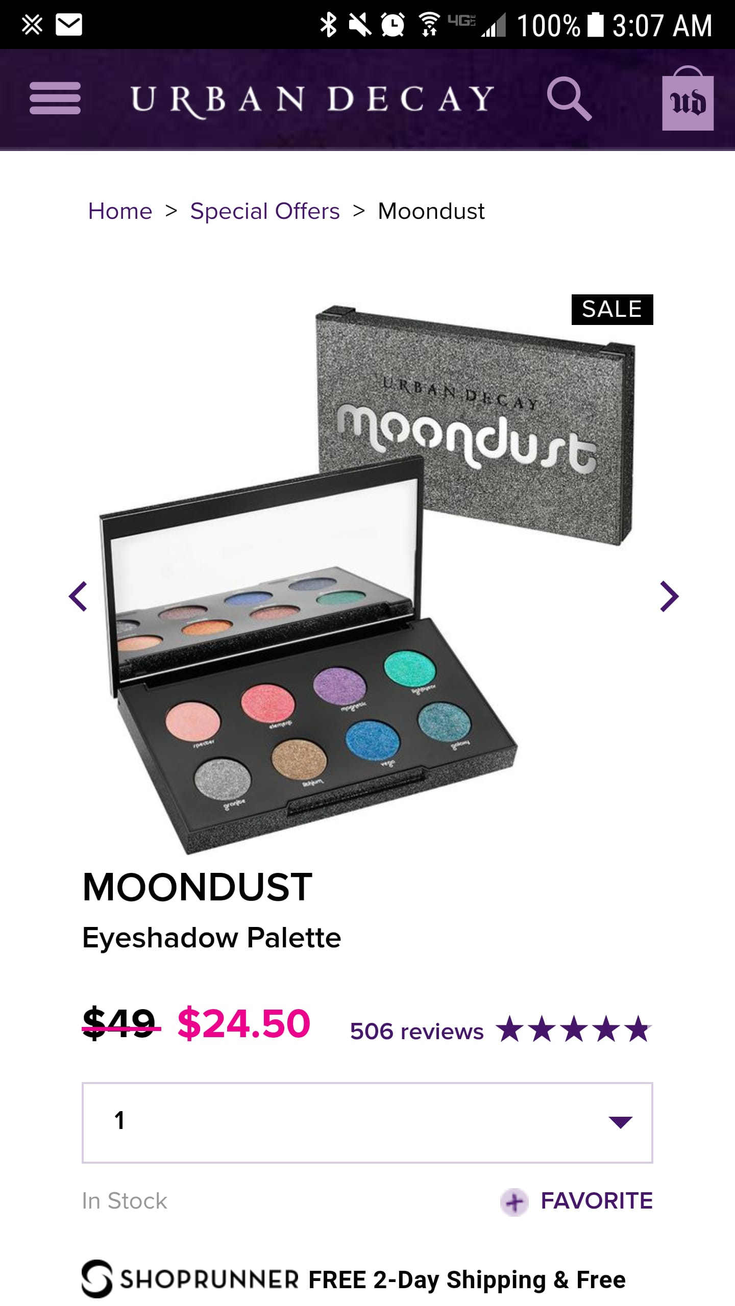 11/28 ONLY Urban Decay Moondust Palette $24.5