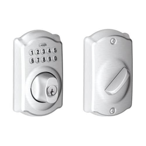 Schlage Camelot Keypad Deadbolt, Satin Chrome $59.60 [BE365 CAM 626} -Amazon