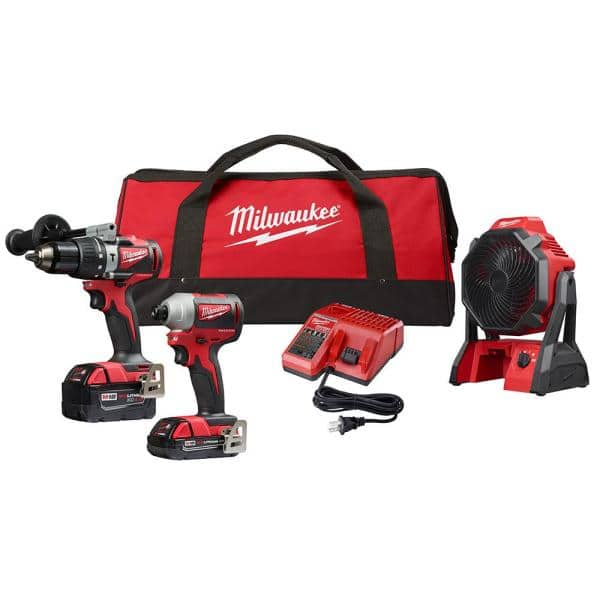 Milwaukee M18 18-Volt Lithium-Ion Brushless Cordless Hammer Drill/Impact Combo Kit (2-Tool) with Cordless Jobsite Fan $219