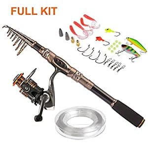 The deal is back, and $2 cheaper! Carbon Telescopic Spinning Fishing Rod with Reel Combo Now $23.99 AC w/Prime shipping