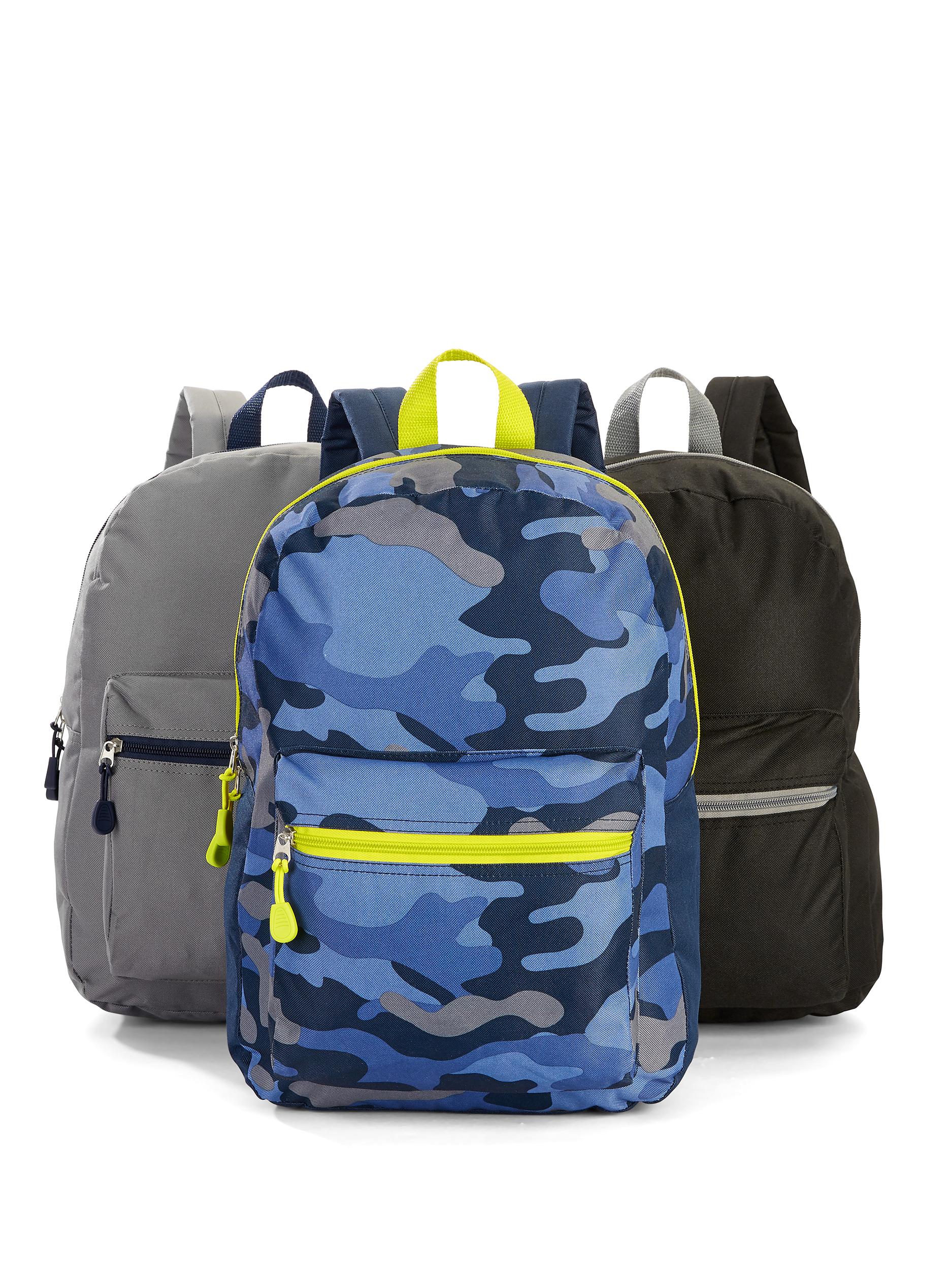 3 Backpacks! Wonder Nation Bundle of 3 Boys Backpacks (camo, grey, black) $10