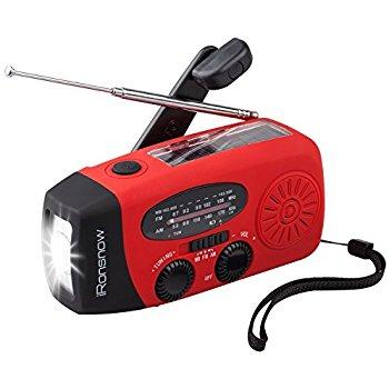 Solar Hand Crank Radio with LED Flashlight and 1000mAh Power Bank (Red) $15.99 at Amazon.