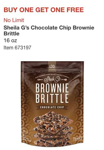 Costco Members: Buy One Get One Free 16 Ounce Bag Sheila G's Chocolate Chip Brownie Brittle *Valid 5/23-6/17* In-store Only