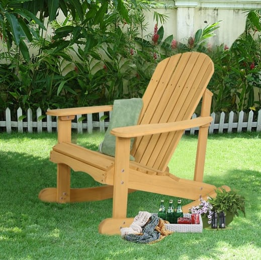 Costway Outdoor Adirondack Wooden Rocking Chair $55.95 + Free Shipping