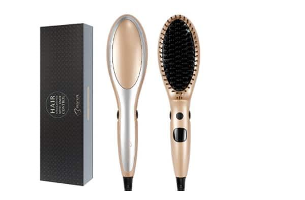Anion Ceramic Heating Electric Straightening Brush-Gold $16.19+FS@Amazon.