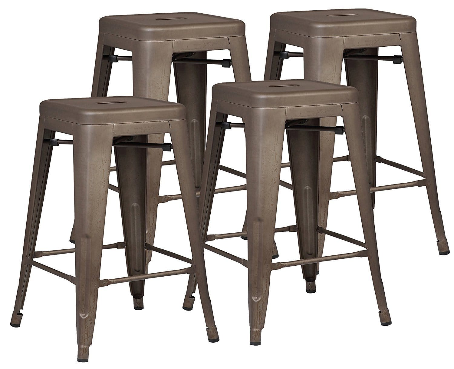 Set of 4 Loft Style 24 in. Stackable Metal Counter Stools (Various Colors) $86.18 AC+FS@Amazon.