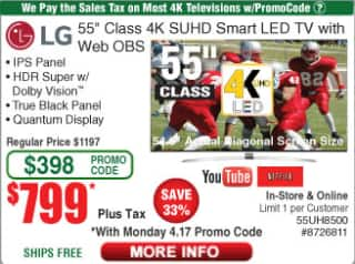 Update!! Now $699 - LG 55UH8500 Super UHD 4K TV with HDR at Fry's with promo code.