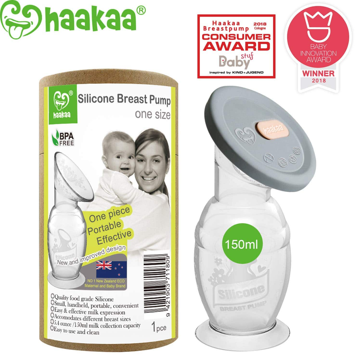 Haakaa Manual Breast Pump with Base 5oz/150ml+Lid $ 14.85