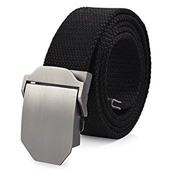 "Vbiger Canvas Web Military-Style Adjustable Waist Belt (50"" max) - $11.99 w/25% off code (Prime)"