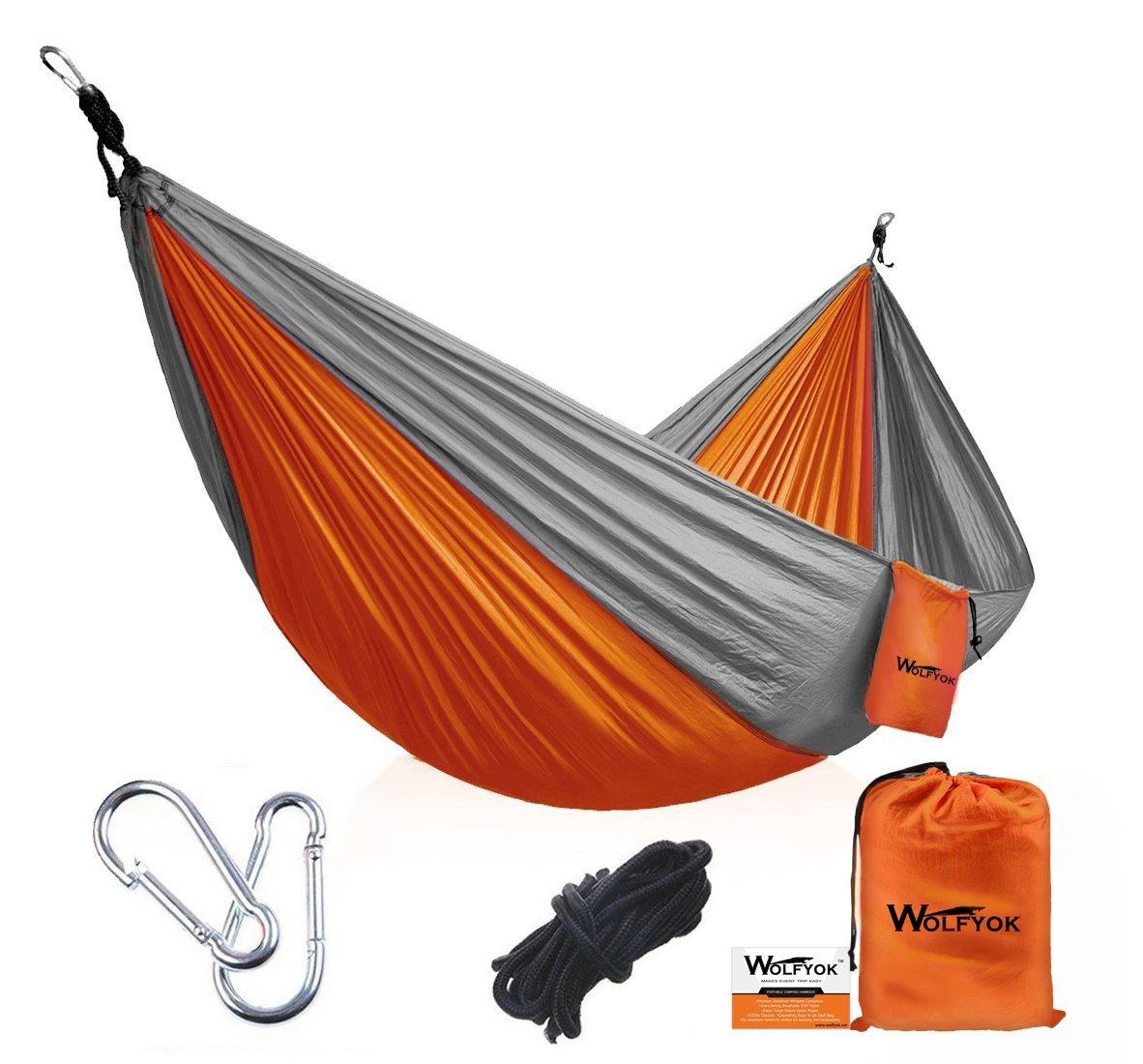 Portable Camping Hammock w/ropes and Carabiners [Single, Orange/Gray color] $14.99