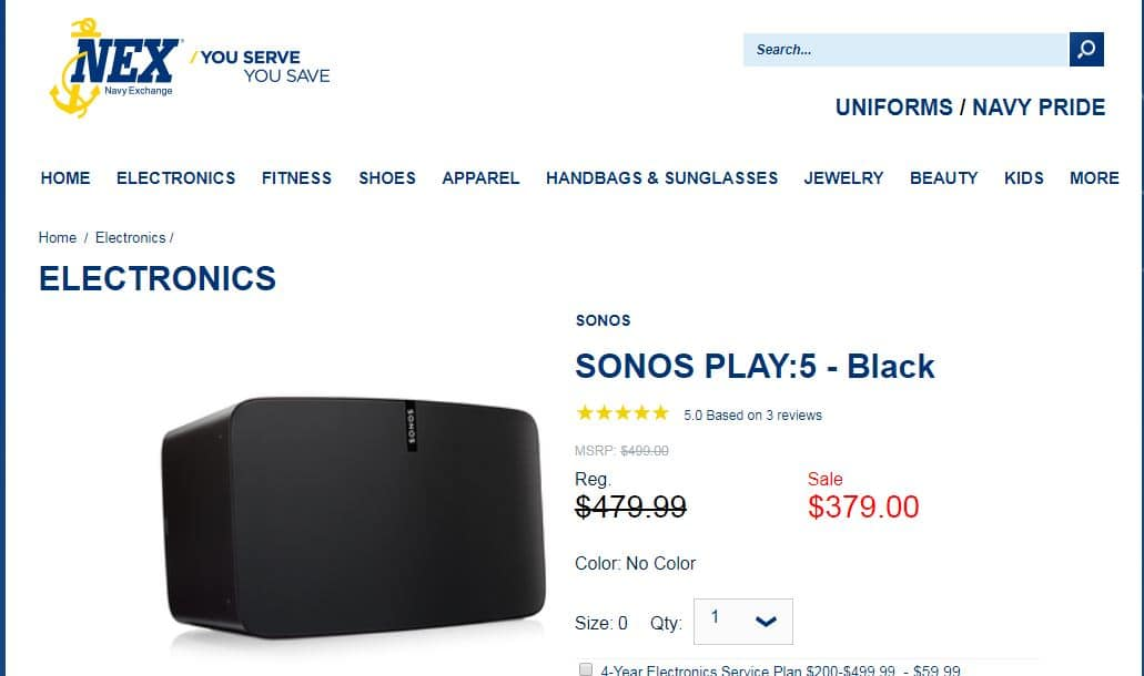 Sonos Play:5 for $379 (No tax) at the Navy Exchange