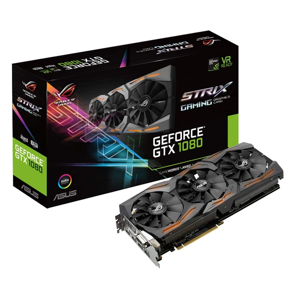 ASUS GeForce GTX 1080 ROG Strix 8GB GDDR5X Video Card w/ Aura RGB Lighting $489 after MIR with any processor purchase (in-store only)