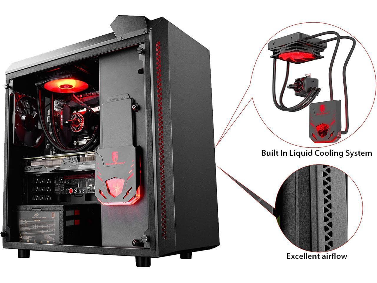 DEEPCOOL Gamer Storm Black ATX Mid with TG 120mm AIO Water Cooling $49.99 AR + $3.99 S/H